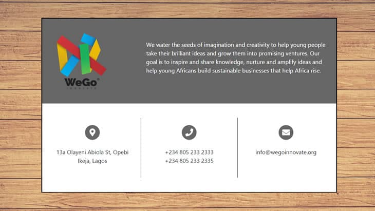website business card example